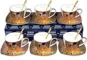 Puodeliaii su lėkštutėmis+šaukštukai 6 vnt Klimt Bučinys 87029