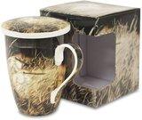 Puodelis su dangčiu ir sieteliu arbatai su paukščių pieš. 12,5x12,5x9 cm 118883