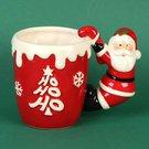 Puodelis su Kalėdų Senelio rankena raudonas XM2554 H:12 W:16 D:10 cm kld