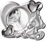 Rėmelis apvalus vaikiškas su meškiuku D 9 cm sidabro spalvos A114 Mascagni