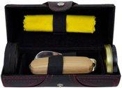 Rinkinys batų priežiūrai odinėje dėžutėje ZM07B 17x7 cm.