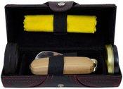 Rinkinys batų priežiūrai odinėje dėžutėje ZM07C 17x7 cm.