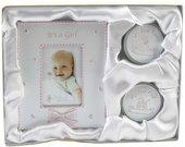 Rinkinys kūdikiui rėmelis+dėžutės pirmam dantukui,sruogai CG409 rožinis 16*20 cm