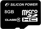 Silicon Power карта памяти microSDHC 8GB Class 4