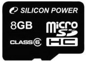 Silicon Power карта памяти microSDHC 8GB Class 6 + адаптер