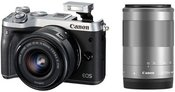 Canon EOS M6 + 15-45mm EF-M + 55-200mm EF-M (Sidabrinis)