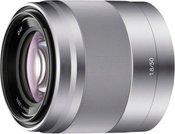 Sony E50mm F1.8 OSS (sidabrinis)