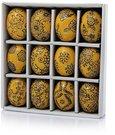 Suvenyras Kiaušinis keramikinis ornamentuotas H 6 cm(12) 69033 geltonas velyk