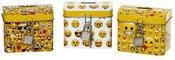 Taupyklė su emocinių veidukų piešiniu skardinė su spyna 9x6x8cm 871125285256