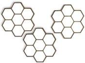 Veidrodis 3 vnt auksinės spalvos rėme Korys 25 X 25 x 2 cm HTOK5593