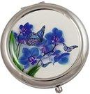 Veidrodukas su mėlynos orchidėjos piešiniu D 6.5 cm HL24 metalinis