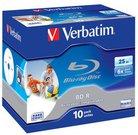 1x10 Verbatim BD-R Blu-Ray 25GB 6x Speed, printable, Jewel Case
