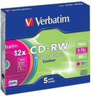 1x5 Verbatim CD-RW 80 / 700MB 10x Speed, Colour, Slim