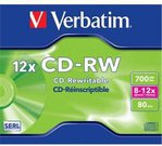 Verbatim CD-RW 80/700MB 8X-12X extra protection Scratch Resistant jewel box - 43148