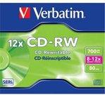 Verbatim CD-RW 80/700MB 8X-12X extra protection Scratch Resistant jewel box - 43148