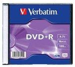 Verbatim DVD+R 4.7GB 16X matte silver slim box - 43515