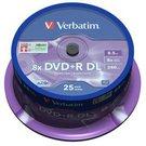1x25 Verbatim DVD+R Double Layer 8x Speed, 8,5GB matt silver