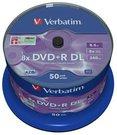 1x50 Verbatim DVD+R Double Layer 8x Speed, 8,5GB matt silver