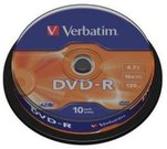 1x10 Verbatim DVD-R 4,7GB 16x Speed, matt silver Cakebox