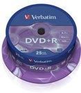 1x25 Verbatim DVD+R 4,7GB 16x Speed, matt silver