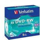 1x5 Verbatim DVD-RW 4,7GB 4x Speed, Jewel Case