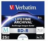 1x5 Verbatim M-Disc BD-R Blu-Ray 25GB 4x Speed, Jewel Case print.