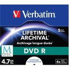 1x5 Verbatim M-Disc DVD R 4,7GB 4x Speed, Jewel Case, printable