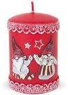 Žvakė raudona cilindro formos su kalėdų seneliais 10,5x7x7 cm 125892 KLD