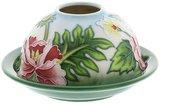 Žvakidė keramikinė su gėlių piešiniu TW8013 H:4 W:12 D:12 cm