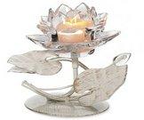 Žvakidė metalinė Lotosas skaidrus 1 žv. D7677 14x12x12cm SAVEX