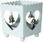 Žvakidė metalinė su širdelėmis ir varpeliais 88592 6,5x6x5,5 cm