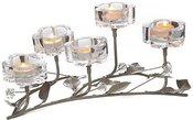 Žvakidė metalinė su stiklu skaidriu 5 žv. D7670 44x28x18.5cm SAVEX