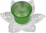 Žvakidė stiklinė metalo lapeliuose H:6 W:13 D:13 cm. 86116 žalia