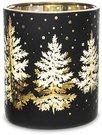 Žvakidė stiklinė skaidri baltos/auksinės sp. 9x8x8 cm 132926 KLD