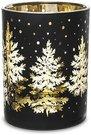 Žvakidė stiklinė skaidri juodos/auksinės sp. 12,5x10x10 cm 132925 KLD