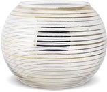 Žvakidė stiklinė skaidri su aukso spalvos detalėm 9x12x12 cm 126249