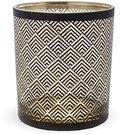 Žvakidė stiklinė skaidri su juodais ornamentais 10x8,5x8,5 cm 126254