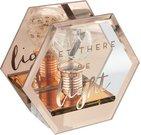"""Žvakidė stiklinė vario sp. Su Led lempute """"Let There Be Light"""" SP1035"""