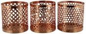 Žvakidės 3vnt. Metalinės vario spalvos HE548 H:9 W:9 D:9 cm išp.