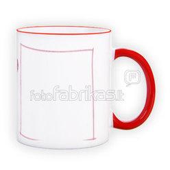 Puodelis spalvota rankenėle. Raudonas (300 ml)