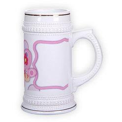 Ceramic beer mug with golden trim (500 ml)