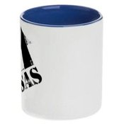 Dviejų spalvų puodelis. Melsvas vidus ir rankenėlė (300 ml)
