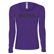 Women's long sleeve T-shirt with your photos, notes, purple