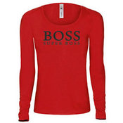 Women's long sleeve T-shirt with your photos, notes, red