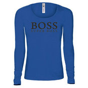 Women's long sleeve T-shirt with your photos, notes, blue