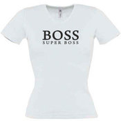Women's T-shirt with your chosen photo, V-shaped collar, white