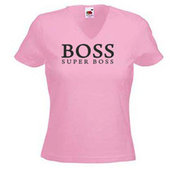 Women's T-shirt with your chosen photo, V-shaped collar, pink