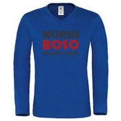 Vyriški marškinėliai ilgomis rankovėmis su Jūsų nuotrauka, užrašu, mėlyni