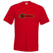 Vyriški marškinėliai su Jūsų nuotrauka, užrašu, raudoni