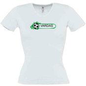 Moteriški marškinėliai V formos apykakle su Jūsų nuotrauka, užrašu, balti